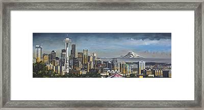 Seattle Skyline Framed Print by Nick Buchanan