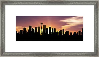 Seattle Skyline Panorama Sunset Framed Print by Aged Pixel