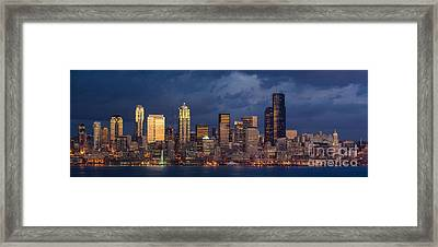 Seattle Skyline Sunset Detail Framed Print by Mike Reid
