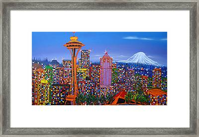 Seattle Space Needle 5 Framed Print by Portland Art Creations