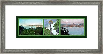 Seattle Space Needle Triptych Framed Print by Steve Ohlsen