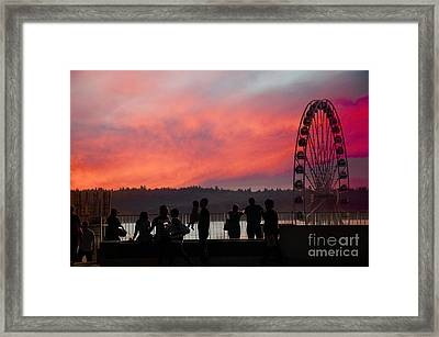 Seattle Sunset Framed Print by Brenda Kean