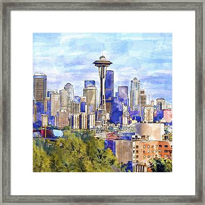 Seattle View In Watercolor Framed Print by Marian Voicu