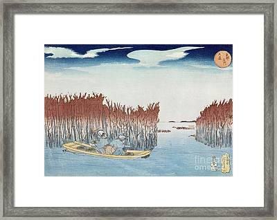 Seaweed Gatherers At Omari Framed Print by Utagawa Kuniyoshi