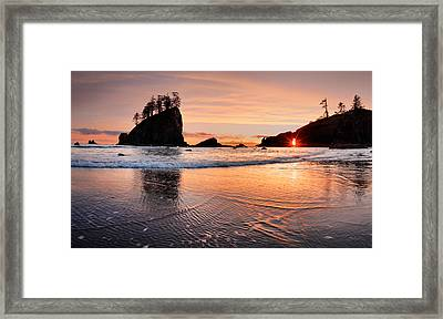 Second Beach Sunset Framed Print by Leland D Howard