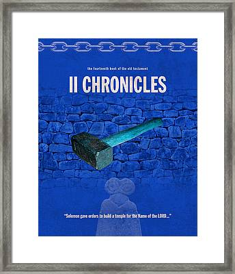 Second Chronicles Books Of The Bible Series Old Testament Minimal Poster Art Number 14 Framed Print by Design Turnpike