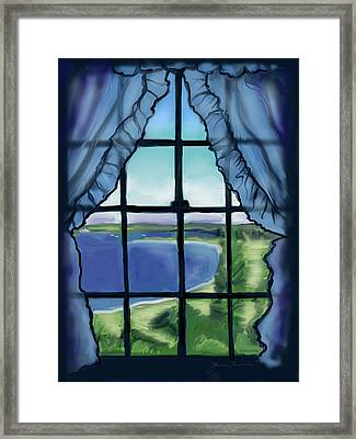 Second Floor Window Black Point Inn Framed Print by Jean Pacheco Ravinski