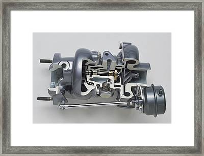 Sectioned Modern Turbocharger From An Car Framed Print by Dorling Kindersley/uig