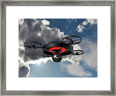Security Drone Framed Print by Christian Darkin