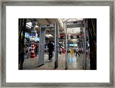 Security Scanners At Mumbai Station Framed Print by Mark Williamson