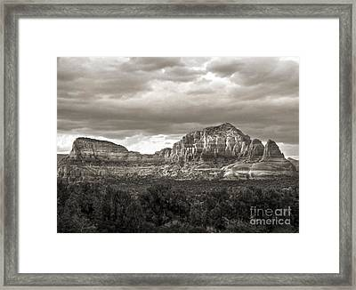 Sedona Arizona Black And White Mountains And Big Sky Framed Print by Gregory Dyer