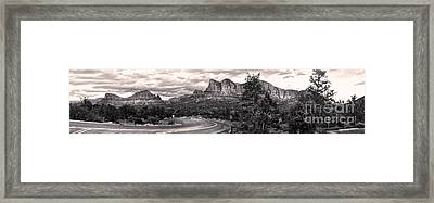 Sedona Arizona Black And White Panorama Framed Print by Gregory Dyer