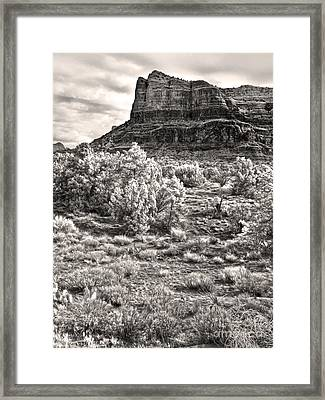 Sedona Arizona Mountain View  - Black And White Framed Print by Gregory Dyer