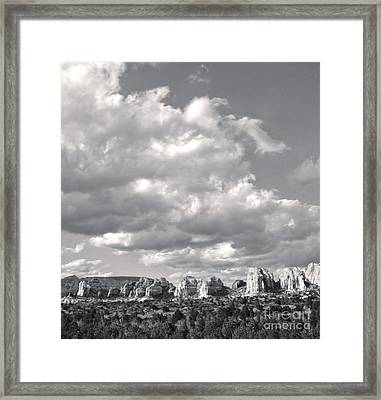 Sedona Arizona Mountains In Black And White Framed Print by Gregory Dyer