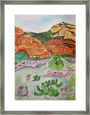 Sedona Mountain With Pears And Clover Framed Print by Marcia Weller-Wenbert