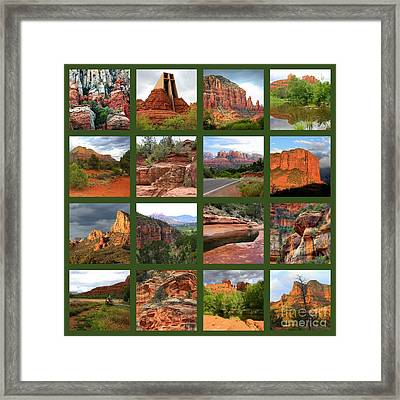 Sedona Spring Collage Framed Print by Carol Groenen