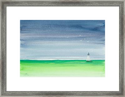 Seeking Refuge Before The Storm Alligator Reef Lighthouse Framed Print by Michelle Wiarda
