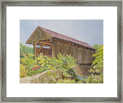 Seguin Covered Bridge In Charlotte Vermont Framed Print by Mary Ellen  Mueller Legault