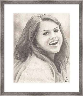 Selena Gomez Framed Print by Kendra Tharaldsen-Franklin