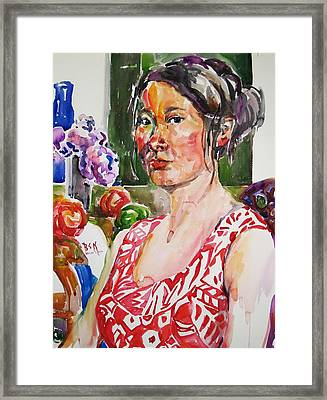 Self Portrait 9 - With Still Life Framed Print by Becky Kim