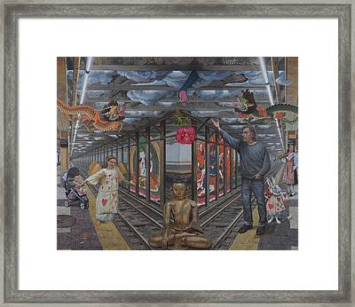 Self Portrait At 14th Street Station Framed Print by Alfredo Arcia