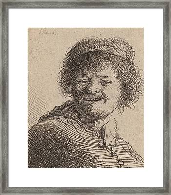 Self Portrait In A Cap Laughing Framed Print by Rembrandt