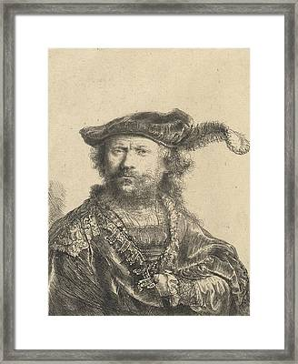 Self Portrait In A Velvet Cap With Plume Framed Print by Rembrandt