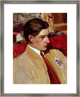 Self Portrait In Profile Framed Print by Joaquin Sorolla y Bastida