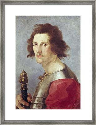 Self Portrait Oil On Canvas Framed Print by Gian Lorenzo Bernini