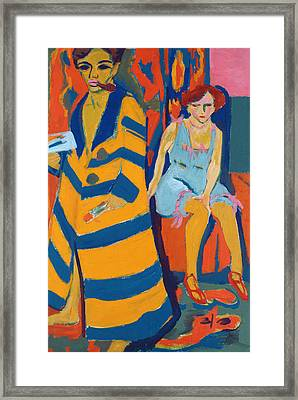 Self Portrait With A Model Framed Print by Ernst Ludwig Kirchner