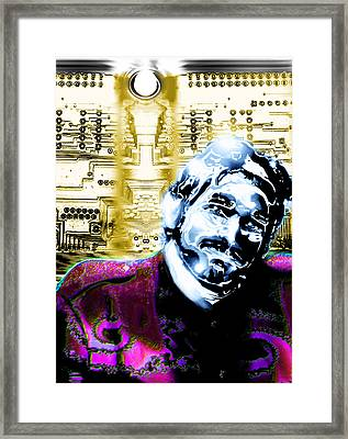 Self Portrait With Circuits Framed Print by Del Gaizo
