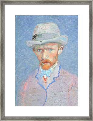 Self-portrait With Gray Felt Hat Framed Print by Vincent van Gogh