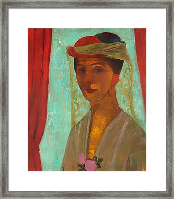 Self Portrait With Hat And Veil Framed Print by Mountain Dreams