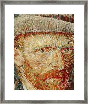Self-portrait With Hat Framed Print by Vincent van Gogh
