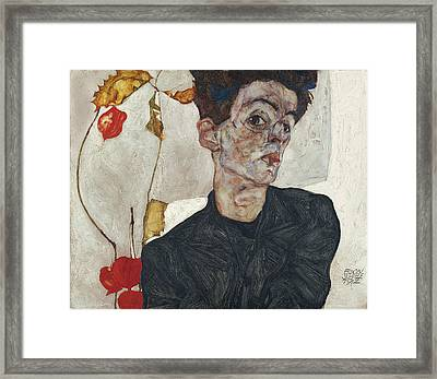 Self-portrait With Physalis Framed Print by Celestial Images
