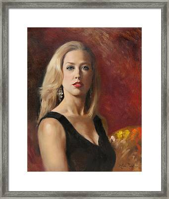 Self Portrait With Red Lipstick Framed Print by Anna Rose Bain
