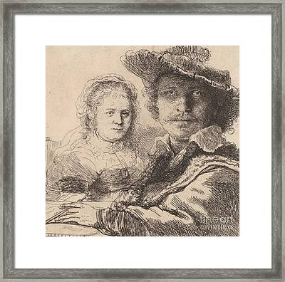 Self Portrait With Saskia Framed Print by Rembrandt
