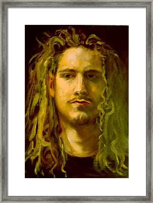 Selfie- Oil Framed Print by Tim Rampy