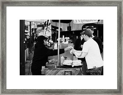 Selling Hot Dogs New York City Manhattan Framed Print by Joe Fox