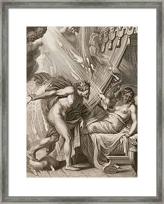 Semele Is Consumed By Jupiters Fire Framed Print by Bernard Picart