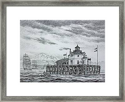 Semiahmoo Lighthouse - Drawing Framed Print by James Williamson