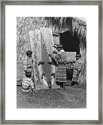 Seminole Dries Alligator Skin Framed Print by Underwood Archives