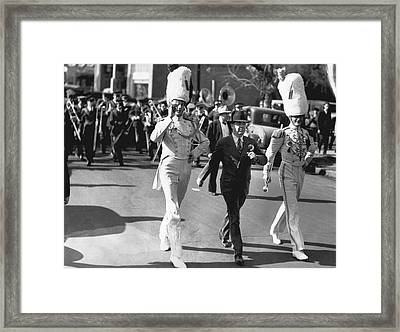 Senator Huey Long In Parade Framed Print by Underwood Archives