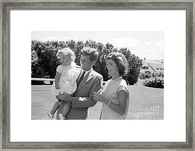 Senator John F. Kennedy With Jacqueline And Caroline Framed Print by The Phillip Harrington Collection