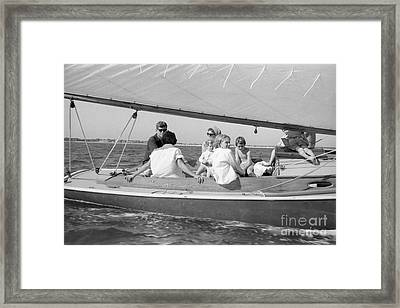 Senator John F. Kennedy With Jacqueline And Children Sailing Framed Print by The Phillip Harrington Collection