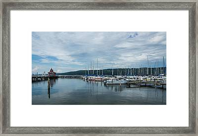 Seneca Lake Harbor - Watkins Glen - Wide Angle Framed Print by Photographic Arts And Design Studio