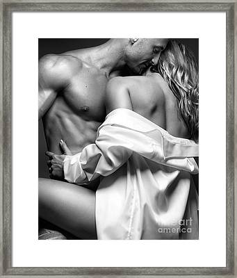 Sensual Couple Portrait Woman Embracing A Muscular Man Framed Print by Oleksiy Maksymenko