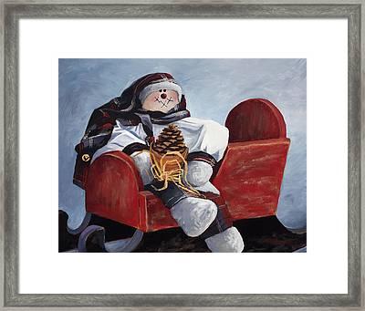 Sentimental Snowman Framed Print by Mary Giacomini