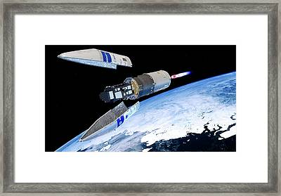 Sentinel-3 Satellite Launching Into Orbit Framed Print by Atg Medialab/esa