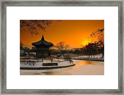 Seoul Palace Sunset Framed Print by Aaron S Bedell
